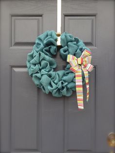 Easter Wreath - Burlap Wreath - Blue Burlap Wreath - Easter Burlap Wreath with Ribbon. $30.00, via Etsy.