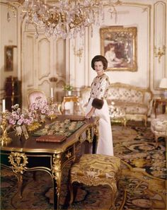 Mrs. Charles Wrightsman. 1950 Style setter in her glorious living room in Palm Beach. Interior Design by Stephane Boudin of Jansen in Paris.. comments per Leta Austin Foster