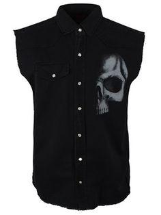 Spiral Sleeveless Work Shirt - Shadow Skull