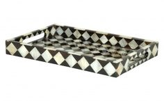 Checker Mother of Pearl Trays - Tabletop - Accessories | Jayson Home