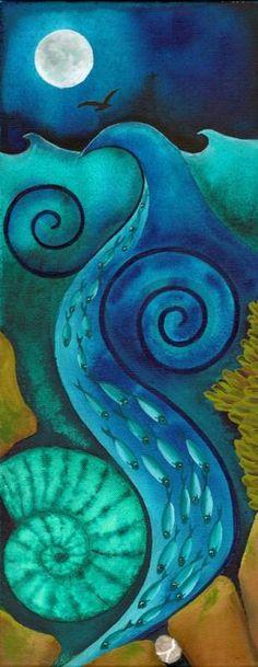 Koi original acrylic painting auspicious koi pond series for Decorative pond fish crossword clue
