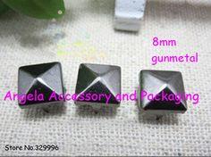 Free Shipping 1000pcs/lot 8mm Gunmetal Pyramid Studs Rivets Spots Punk Rock Spike DIY Accessory