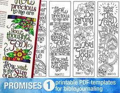 GODS PROMISES 1 - Bible journaling printable templates, instant download illustrated christian faith bookmarks, black and white prayer journal bible verse traceable stencils, bible stickers.  ♥ HE KNOWS MY NAME -Isaiah 43:1 Do not fear, for I have redeemed you; I have summoned you by name; you are mine. ♥ HE THINKS ABOUT ME - Psalm 139:17  How precious to me are your thoughts, God! How vast is the sum of them! ♥ HE IS WITH ME - Joshua 1:9 Be strong and courageous, for the LORD your God will…