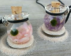 Aqua Therapy Terrarium Necklaces. www.etsy.com/shop/aquatherapyjewelry  shown in Pink Opal and Amethyst. Real Stones Live Marimo Moss balls