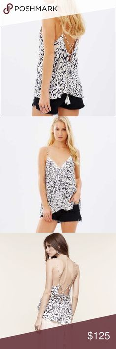 The Jetset Diaries Open Back Tank Top Animal print tank top with lace detail on front. Open strappy tie back with tassels on strings. The jetset Diaries Tops Camisoles