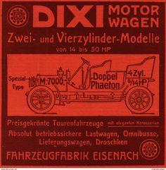 Werbung - Original-Werbung / Anzeige 1908 - DIXI MOTORWAGEN / FAHRZEUGFABRIK EISENACH - ca. 120 x 120 mm