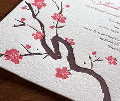 sakura letterpress wedding invitation by invitations by ajalon