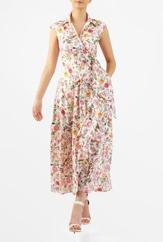 Our surplice dress with a retro feel is cut from floral and bird print cotton and styled with a spread collar and attached side ties to cinch the waist.