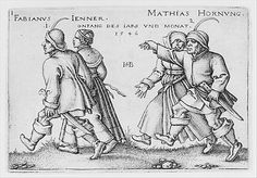 January and February from The Peasants' Feast or the Twelve Months (1546); Hans Sebald Beham  (German, 1500–1550); Engraving; second state of two (Pauli); Metropolitan Museum of Art, New York