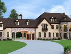 Luxury European House Plan with porte cochere French Country House Plans, European House Plans, French Country Style, European Style, European Homes, European Plan, Country Houses, Ranch House Plans, Cottage House Plans