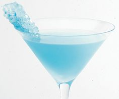 Blue rock candy cocktail