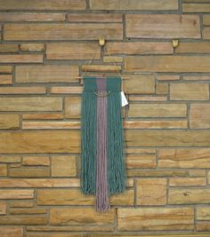color block Turquoise/Teal and Purple Natural Fiber Macrame Wall Hanging Tapestry by AstralRiles