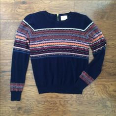 URBAN OUTFITTERS- Patterned Sweater Light-weight navy blue sweater, six inch zipper located in back. Urban Outfitters Sweaters Crew & Scoop Necks