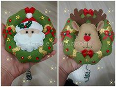 Ponteira de Arvore de Natal em feltro. Formato de guirlanda com enfeite dos dois lados. Ateliê Sílvia Adami Encantos em feltro