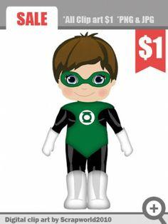 superhero boy green clipart