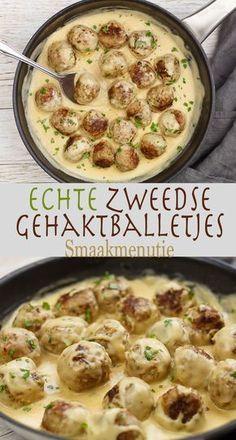 Zweedse gehaktballetjes #recipe #recept Healthy Family Dinners, Quick Healthy Meals, Healthy Crockpot Recipes, Meat Recipes, Pasta Recipes, Vegetarian Recipes, Cooking Recipes, I Love Food, Good Food