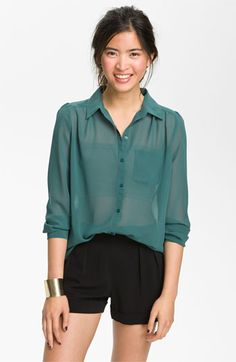 #inmycloset   Frenchi® Sheer Chiffon Shirt (Juniors) | Nordstrom
