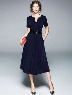 Simply Confident Short Sleeves V Neck Work Wear Dress [with pockets :)]