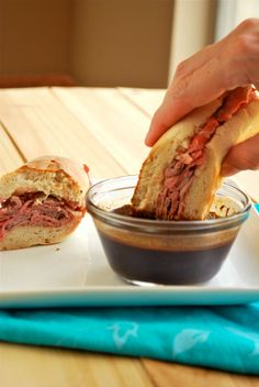 I would add grilled onions and sauteed mushrooms!French Dips with Homemade Au Jus recipe and images by Lacey Baier, a sweet pea chef Wrap Recipes, Beef Recipes, Dinner Recipes, Cooking Recipes, I Love Food, Good Food, Yummy Food, All You Need Is, Vinaigrette