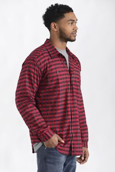 Patagonia Long Sleeve Red Pima Cotton Plaid Button Down Shirt | South Moon Under