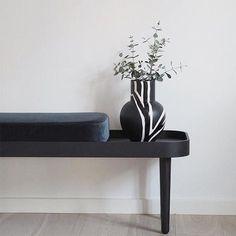 by KlipKlap KK Bench black with blue velvet cushion. Image by @camillasfashionlab