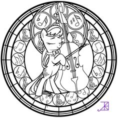 Stained Glass: Octavia -line art- by Akili-Amethyst.deviantart.com on @deviantART