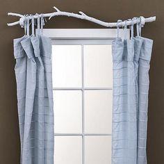 DIY tree branch curtain rod