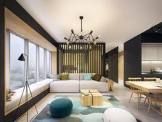 This modern apartment pops with turquoise accents .:separator:This modern apartment pops with turquoise accents . Zeitgenössisches Apartment, Apartment Interior, Luxury Home Decor, Home Decor Trends, Decor Ideas, Living Room Designs, Living Room Decor, Living Room Turquoise, Appartement Design