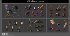 Dream Tales - Witch forest props, Roberto Gatto on ArtStation at https://www.artstation.com/artwork/1EyQZ
