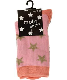 Molo 2-pack pink and gold star socks