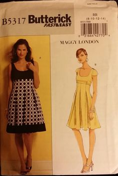 Butterick Pattern B5317 Ladies Slightly Flared Dress 2 styles sizes 8-14 FS