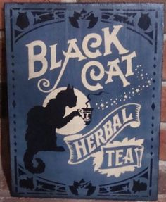 Primitive Witch Sign Black cat Herbal Tea Witches Halloween Decorations Country witchcraft magic Folk Art wiccan art wicca coffee brew herbs by SleepyHollowPrims, $27.00 USD