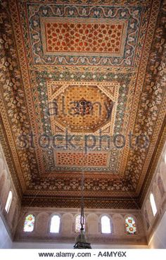 Detail of the Bahia palace's ceiling, Marrakech, Morocco - Stock Photo