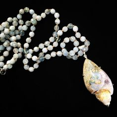 #long #necklace #aquamarine #beautiful #shell #narural #drusy #oneofakind #unique #upscale #beindividual #jewelry #jewellery #oiejewelry