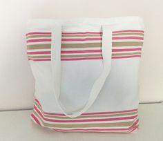 sac de plage, de piscine, en coton rayé rose et marron grand format : Autres sacs par just-by-aleth