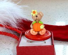 Kawaii Ring  Miniature Thanksgiving Bear by OishisoBitsAndBites, $14.00