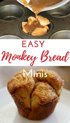 Easy Monkey Bread Minis An easy, PRINTABLE Monkey Bread mini muffin recipe your family will love. Making and eating monkey bread is a Christmas morning (and many other morning) tradition in our family! Mini Monkey Bread, Monkey Bread Muffins, Monkey Bread Cupcakes, Muffin Tin Recipes, Bread Recipes, Baking Recipes, Diet Recipes, Cake Recipes, Breakfast Recipes