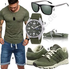Casual Herrenoutfit für den Sommer 2018 mit grünem Republix Shirt, Seiko Armbanduhr, Sonnenbrille mit grünen Gläsern, Armband mit silbernem Anker und blauer Jeans-Shorts.