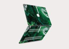 Macbook Pro 15 Case, Macbook Air 13 Inch, Slytherin Aesthetic, Plastic Design, Apple Logo, Texture Art, Emerald, High Definition, Painting