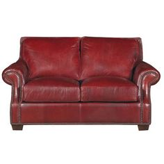 Old English Red Traditional Leather Loveseat