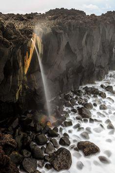 Beatiful waterfall in Azores island