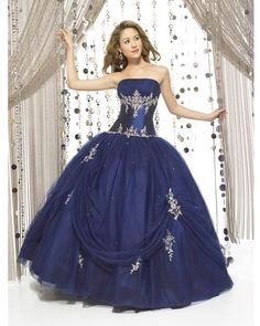 Ball Gown Strapless Navy Embroidery