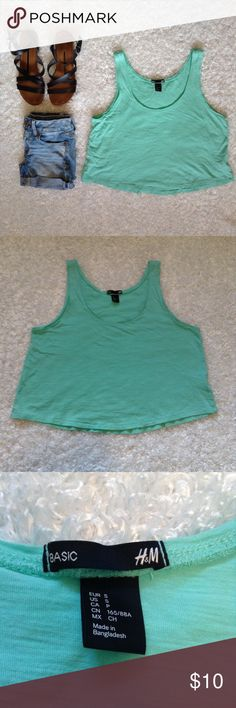 H&M Basic crop top tee small Worn once ✨ sea foam green/teal color, soft, comfy, and light weight, no flaws, no trades, discount on bundles ❤️ H&M Tops Crop Tops