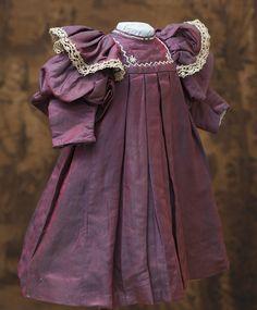 Antique Original Silk Purple Silk dress Antique dolls at Respectfulbear.com