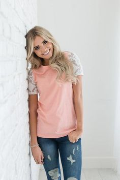 Lace Sleeve Tee - Coral