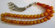 Vtg Ottoman Amber Bakelite Catalin Rosary Prayer Worry Beads Tasbih 10x11mm 47gr   eBay