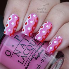 #CreativeNailART Lucy's Stash: Breast Cancer Awareness manicure - Retro waves and dots