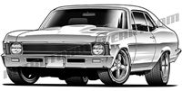 1970 chevy nova muscle car art front view