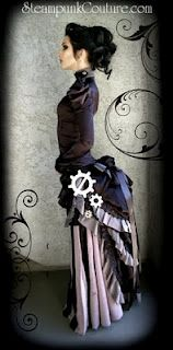 Steampunk fashion -  love the stripes and the gears on the side of the skirt.