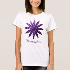 #trendy - #Personalize Purple glitter sparkles flower T-Shirt